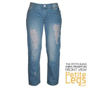 Cheryl Classic Fit Straight Leg Distressed Jeans | UK Size 6-8 | Petite Inseam Select: 26, 27.5, 28 inches